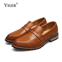 YIGER New Men Derby shoes leather Dress shoes man Casual England slip on Shoes male pointed toe business and wedding shoes 268