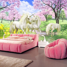3D Mural Wallpaper Unicorn Dream Cherry Blossom
