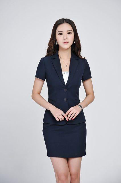 Summer Formal Women Skirt Suits Blazer Jacket Set Fashion Ladies Office  Suits OL Beauty Salon Uniform For Interview Short Sleeve