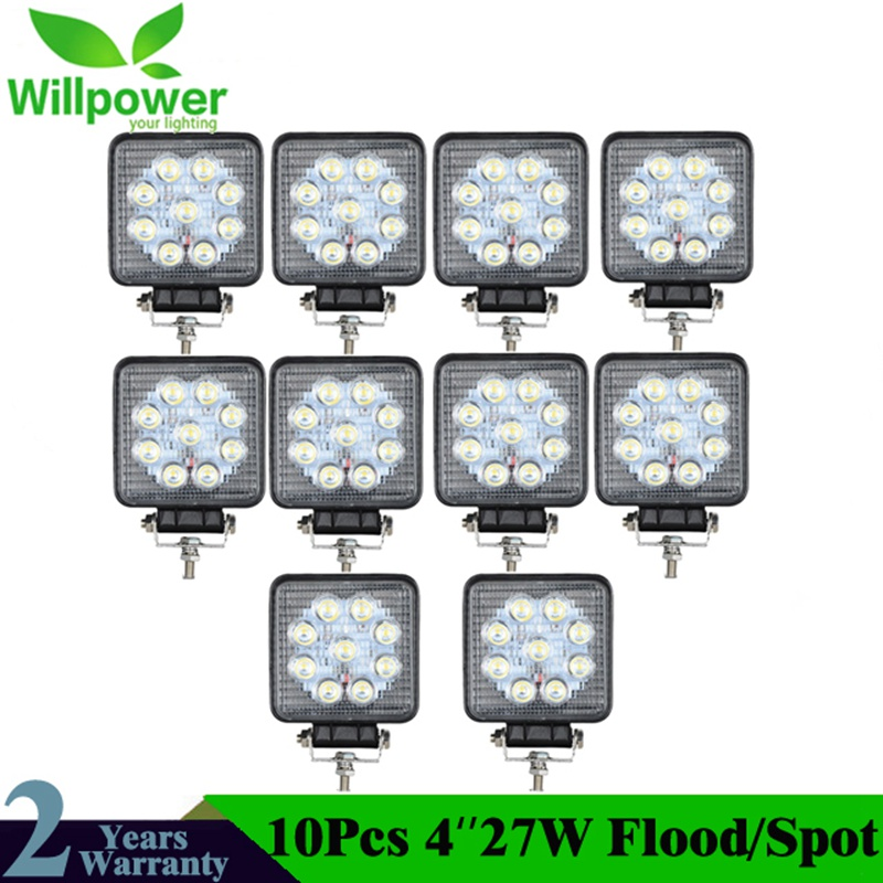 10pcs 4''Square Led 27W LED Work Light Bar for Indicators Motorcycle Driving Offroad Boat Car Tractor Truck 4x4 SUV ATV 12V 24V