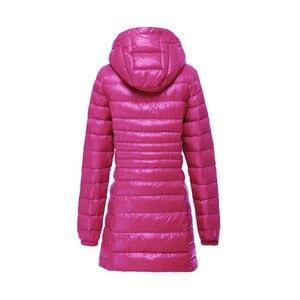Image 2 - S ~ 6XL רזה מעיל 2017 נשים סתיו החורף חדשות ירידות הברווז מעיילי גבירותיי מעיל ארוך עם ברדס בתוספת גודל אולטרה הלבשה עליונה אור AB038