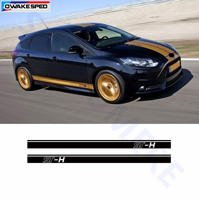 For Ford Focus St Sport Styling Door Side Skirt Strip Stickers Car Body Customized Decals 4