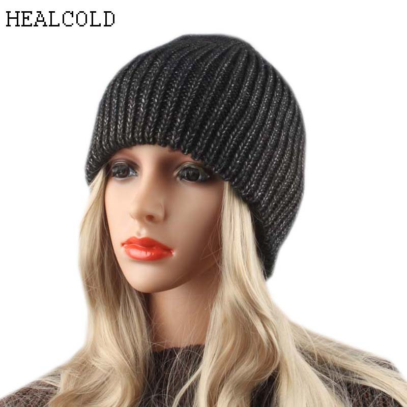 HEALCOLD Women Winter Cap Thick Knitted Wool Warm Hats Caps Female Casual   Skullies     Beanies