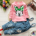 2016 New Autumn Children's Sets Minnie T-shirt & Denim Overalls Girl Clothing Set Children's Clothing Kids Clothes for baby