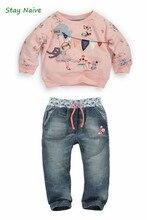 Enfants automne vêtements de mode pour les filles de Bande Dessinée à manches longues chandail + jeans costume grils étudiant vêtements NEXT