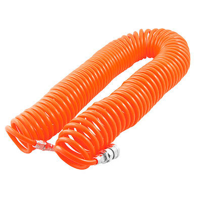 Orange Quick Connector Air Compressor Recoil Hose Tubing 12M 8mm x 5mm 12mm hose air compressor quick coupler connector steel self lock sh 40 ph 40