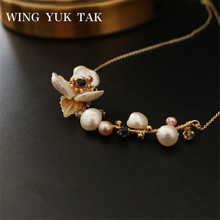 wing yuk tak Fashion Flower Freshwater Pearl Necklace For Women Classic Choker Wedding Party Jewelry Gift