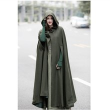 2017 Winter Cloak Hooded Coat Women Vintage Gothic Cape Poncho Coat Medieval Victorian Warm Long Cape Trench Coat