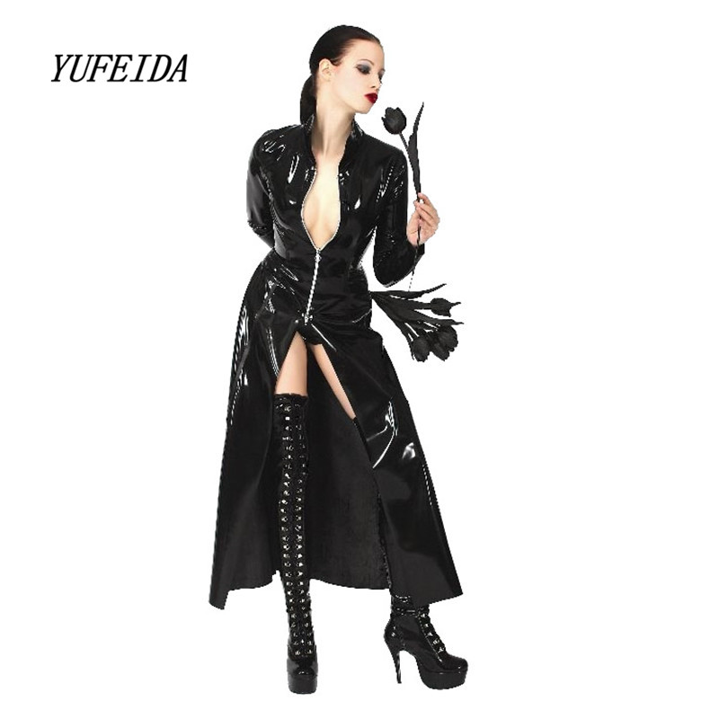 New Leather Women Trench Top Fashion Lady Sexy Faux Leather Slim PU Outerwear Long Women Men Leather Trench Coat Female Unisex