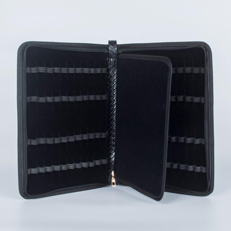 48 canetas caso de luxo de couro preto caixa de lapis saco para rolo ball pen