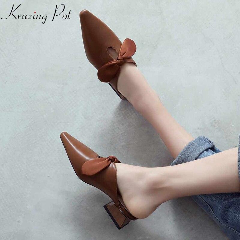 Krazing وعاء 2019 جلد طبيعي الانزلاق على أحذية البغال المرأة واشار تو غريب ميد كعب حجم كبير الشريط فراشة  عقدة مضخات L01-في أحذية نسائية من أحذية على  مجموعة 1