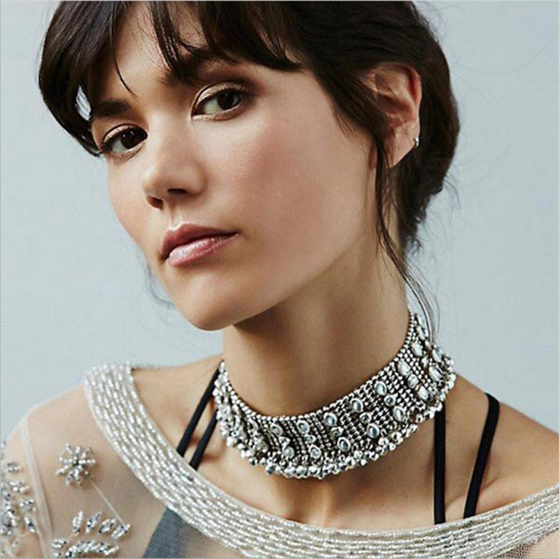 Susenstone 2018 New Fashion Women Punk Style Alloy Crystal Rhinestone Golden Chain Necklace Choker