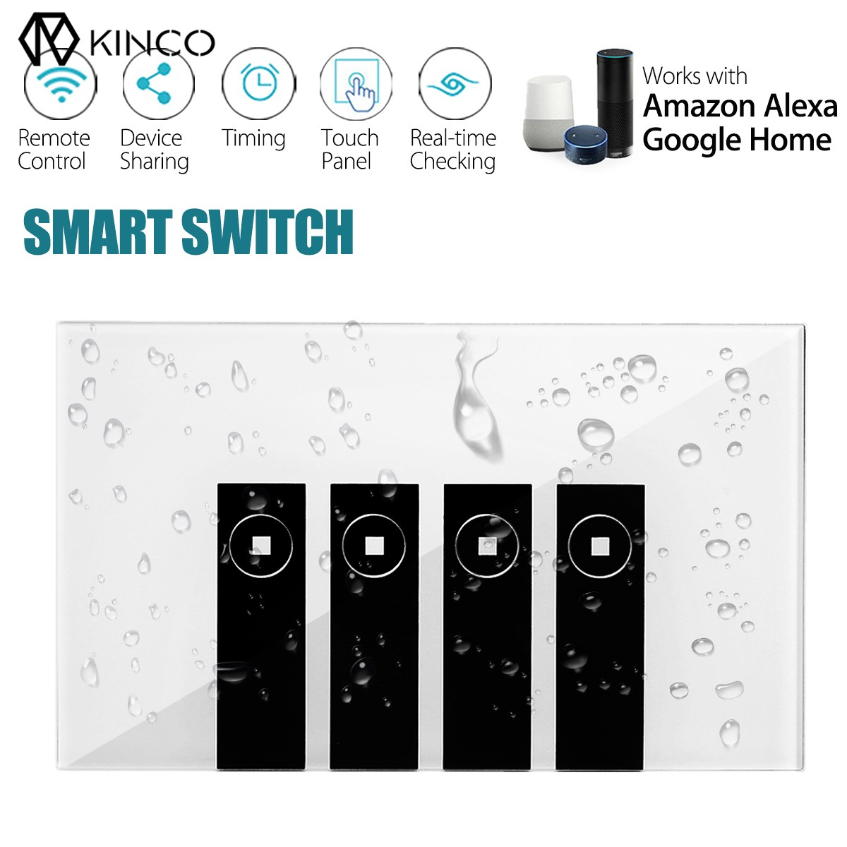 Kinco 120mm WIFI Smart Wall Switch Touch Panel APP Timing RC