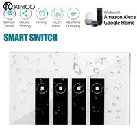 Kinco 120mm WIFI Smart Wall Switch Touch Panel APP Timing RC For Alexa Google Home Automation