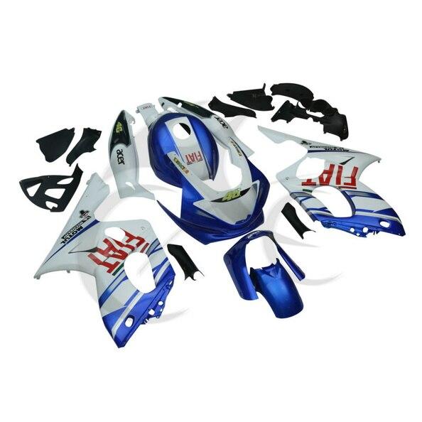 Синий белый ручной работы АБС Кузов комплект Обтекателя для YAMAHA YZF600 YZF600R 97-07