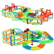 Glowing Railway Tracks Car Toys DIY Flexible Bend Magical Track Road Kits Flash Light Rail Car Assembly Toys Gifts For Children new magic track flexible rail racing car model railway road magical truck pull back tracks cars set diy toys for children gifts