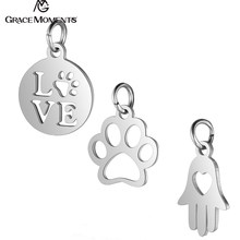 10pcs/Lot 316L Stainless Steel Charms Silver Color Love Dog Paw Hamsa Hand Charms Pendants for Jewelry Making DIY Handmade(China)