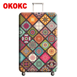 OKOKC Pattern Elastic Thickest Luggage Cover for Trunk Case Apply To 22''-25'' Case,Suitcase Protective Cover Travel Accessories