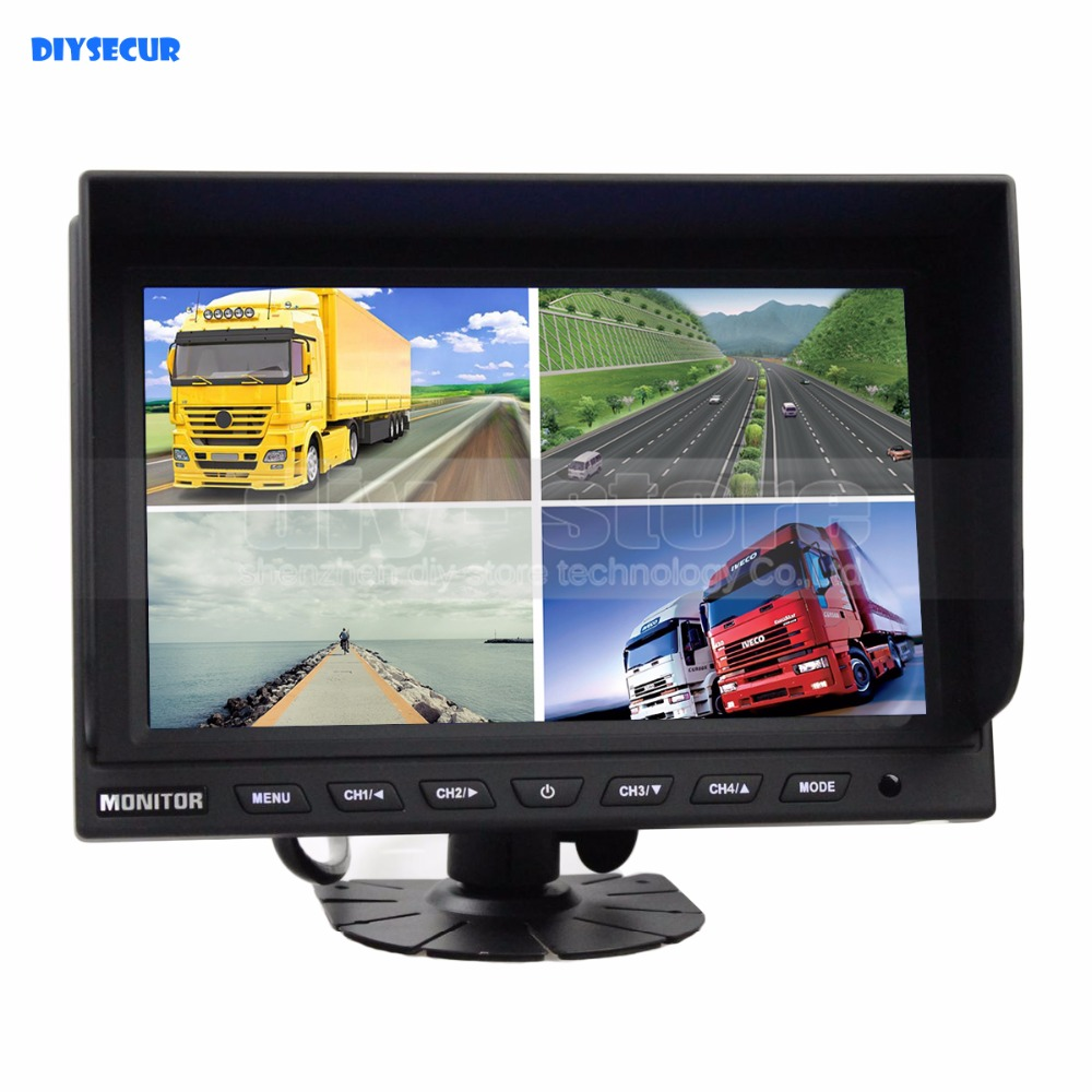 DIYSECUR 9 Inch Split Quad Display Color Rear View Monitor Video Monitor Screen for Video Surveillance