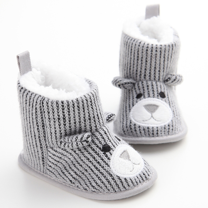 Baby Shoes Cute Newborn Baby Kids First Walkers Winter Monkey Pattern Soft Soled Anti-skid Toddler Footwear Shoes For 0-1t Be Friendly In Use