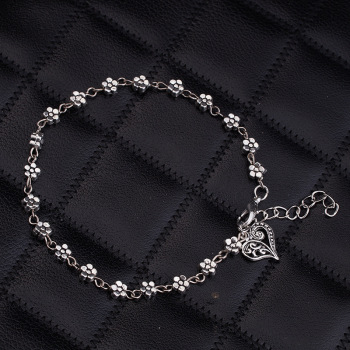 New Fashion Foot Chain Tibetan Silver Hollow Plum Daisy Flowers Heart-Shaped Anklet For Women 1