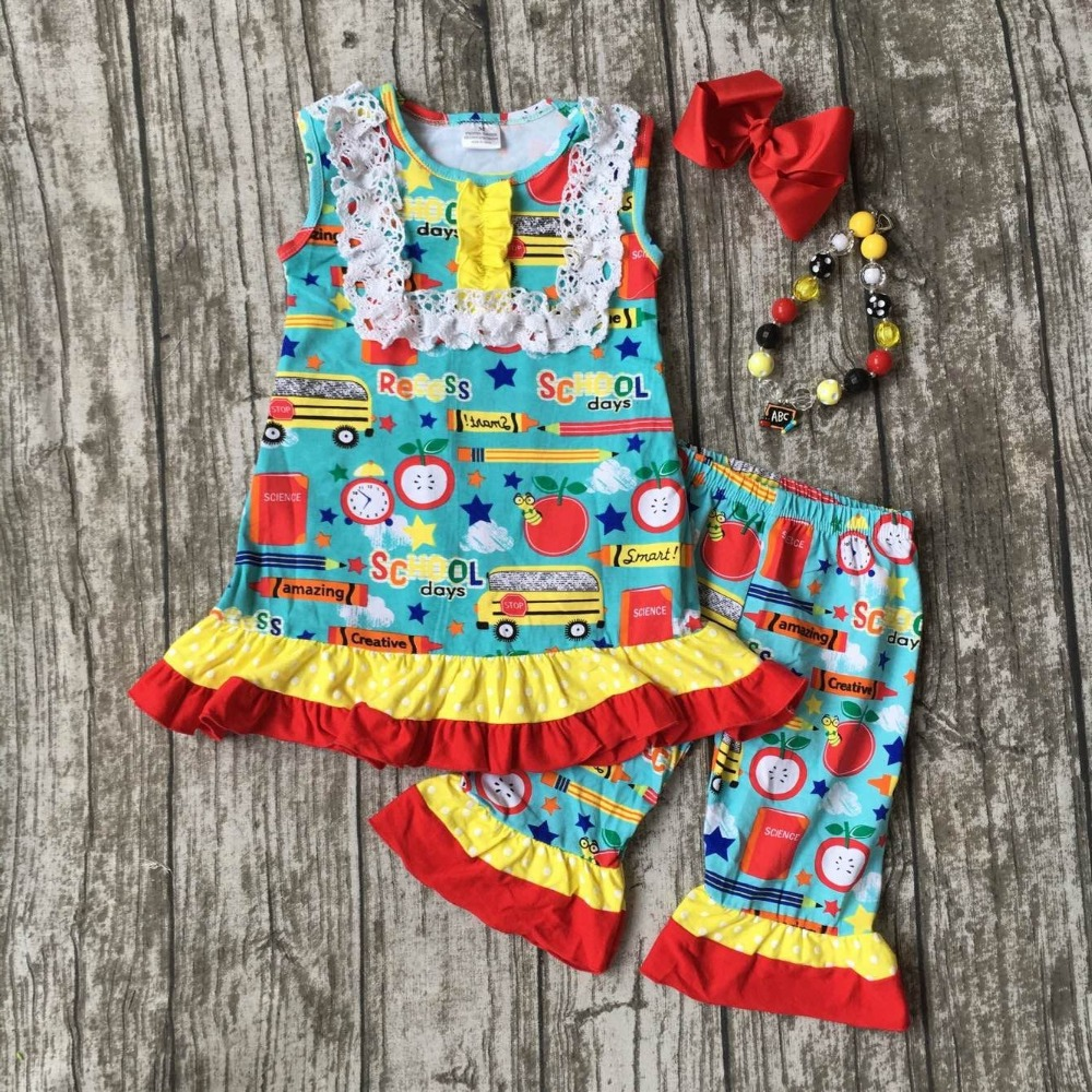 kid girls boutique clothing baby girls back to school clothes children car to school outfits baby ruffle pant with accessories