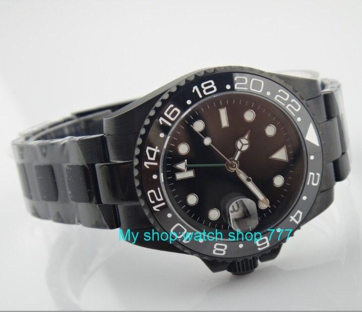 40 ミリメートルパーニス黒 gmt 自動自己風運動機械式時計発光メンズ腕時計 PVD ケースサファイアクリスタル 355  グループ上の 腕時計 からの スポーツウォッチ の中 2