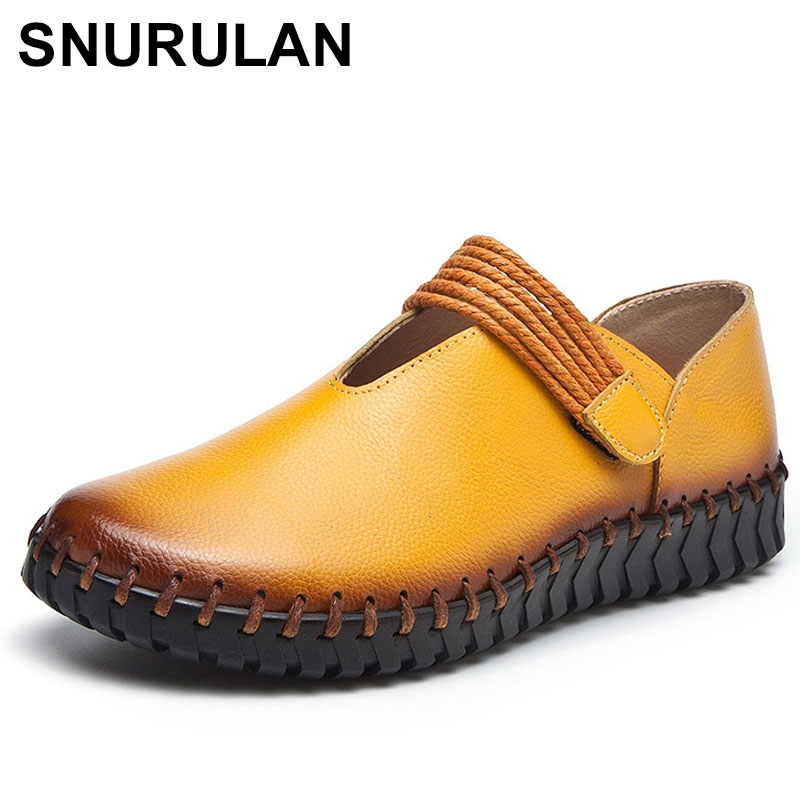 SNURULANFashion Women's Handmade Shoes Genuine Leather Flat Mother Shoes Woman Loafers Soft Comfortable Casual Shoes E360