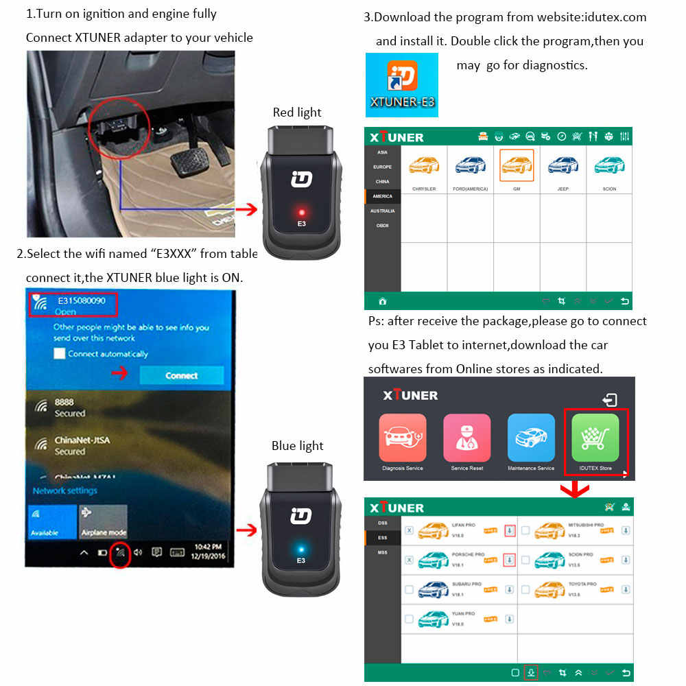 Original XTUNER E3 V9 2 WINDOWS 10 system Wireless OBDII Diagnostic Tool  Support Multi-Languages Automatically Wi-Fi update obd2