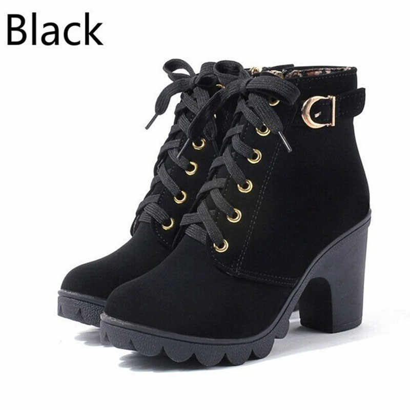 סתיו חורף 2019 אישה מגפי נשים נעלי גבירותיי עבה פרווה קרסול מגפי נשים גבוהה העקב פלטפורמת גומי נעלי שלג מגפיים