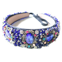 Bride Tiaras Baroque Crown Blue Rhinestone Beads Hair Bands Crystal Velvet Wide Headbands For Women Party
