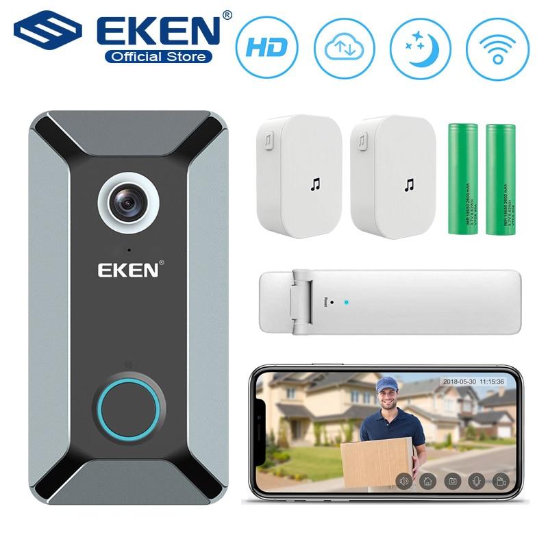 EKEN V6 wifi Doorbell Smart Wireless 720P video camera Cloud storage door bell cam waterproof home security house bell Gray