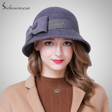 Classic cloche hats for women Australia wool felt hat elegant handmade  bowknot Autumn Winter warm Ladies. 3 Colors Available 7b86a2e7b300