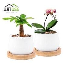 WITUSE 2pcs Jar Shape Flower Pot + Bamboo Pot Tray white Glazed Succulent Plant Garden Pot Planter for Balconie Home Decorative