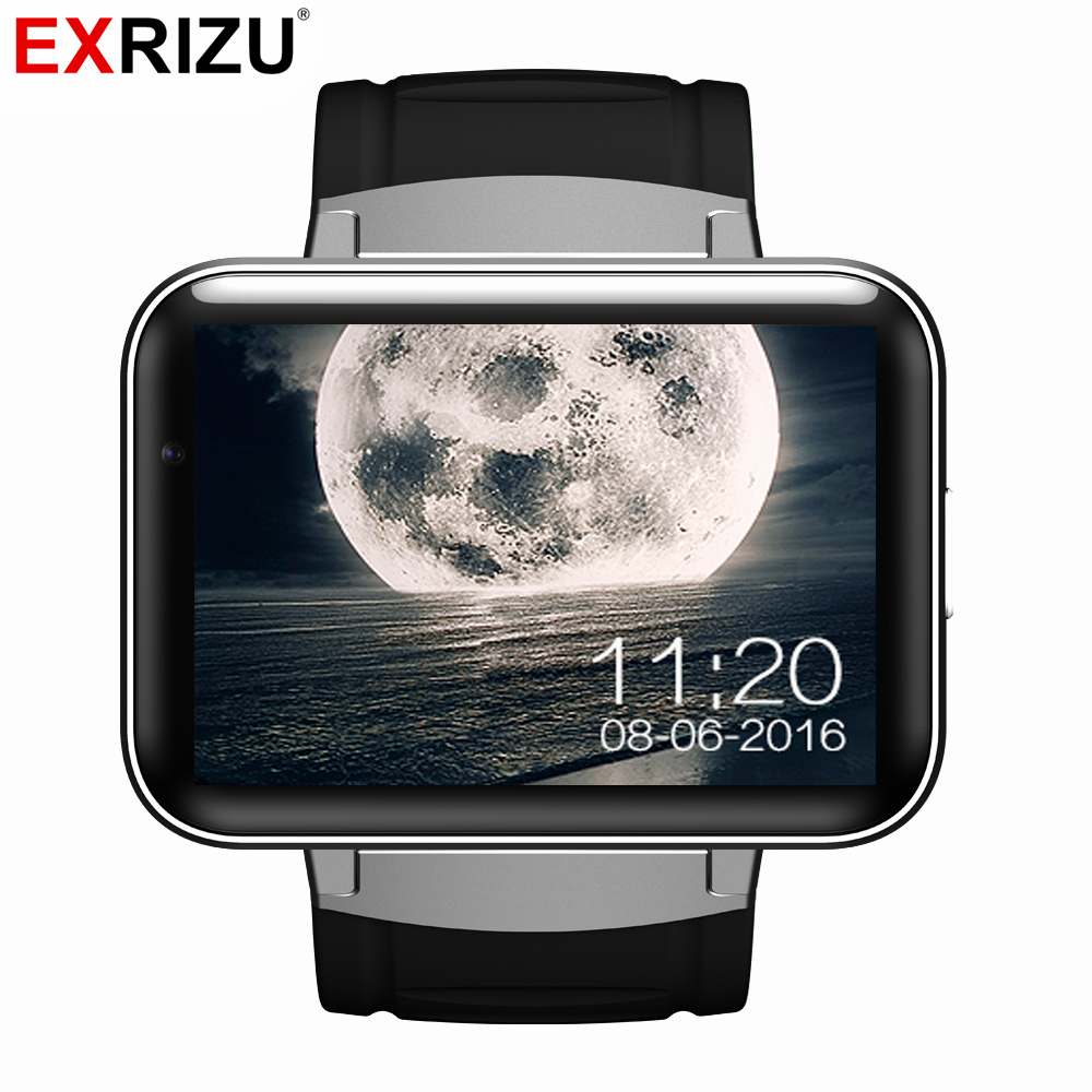 EXRIZU DM98 Android 4.4 OS Smart Watch Phone MTK6572 2.2 inch HD LED Screen 900mAh Battery 512M + 4G WCDMA GPS WIFI Smartwatch no 1 d5 bluetooth smart watch phone android 4 4 smartwatch waterproof heart rate mtk6572 1 3 inch gps 4g 512m wristwatch for ios