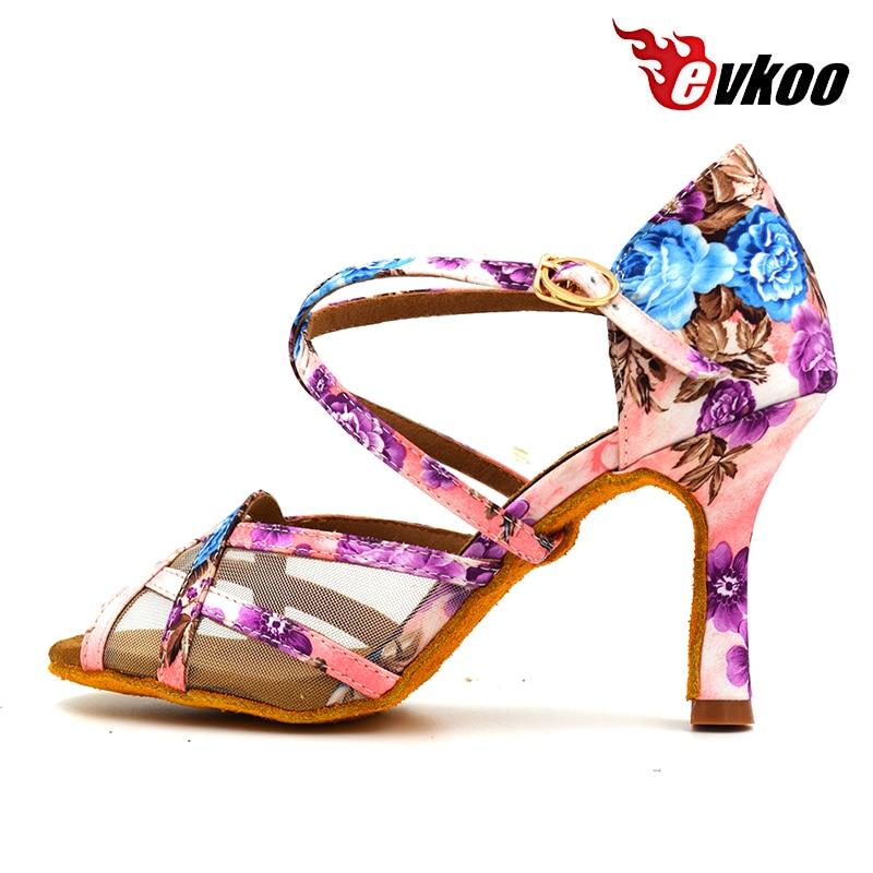2017 Evkoo Dancing Shoe Girls Satin Latino Zapatos 8.3 8cm High Heel Ladies Salsa Ballroom Latin Dance Shoes For Women Evk-428