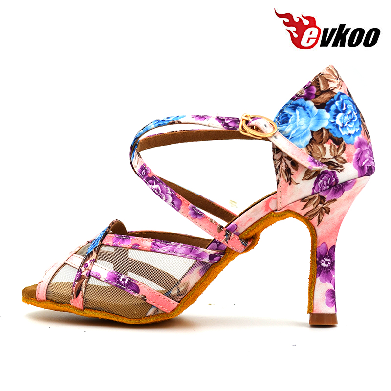 2017 evkoo Dancing Shoe girls Satin latino Zapatos 8.3 8cm High Heel ladies Salsa Ballroom Latin Dance Shoes For Women Evk-428
