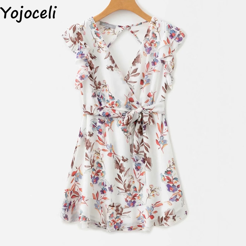 Cuerly Sexy deep v neck print ruffle dress women Summer elegant beach short dresses Chiffon bow floral casual dress vestidos in Dresses from Women 39 s Clothing