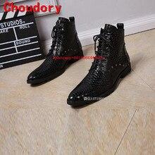 Мужская зимняя обувь; сезон осень; водонепроницаемый военные сапоги из крокодиловой кожи; черная обувь из натуральной кожи с высоким берцем; обувь аллигатора для мужчин