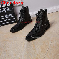 Mens winter footwear autumn waterproof military boots crocodile skin black genuine leather high top alligator shoes for men