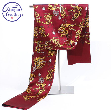 Best Selling Top brand Dragon Print Silk Scarf men Spring foulard collar title=