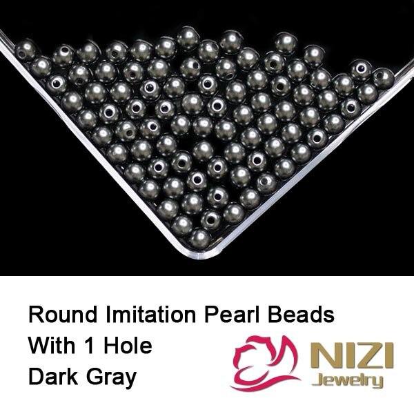 Фото Fashion Imitation Round Pearls DIY Jewelry Making Decorations 6mm 8mm 10mm Resin Round Dark Gray Beads With Hole 100g/bag