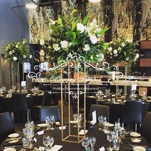 10 Uds 80 cm x 20 cm alto soporte geométrico dorado centro de mesa de boda modernos jarrones para mesa estante de exhibición de matrimonio decoración de fondo