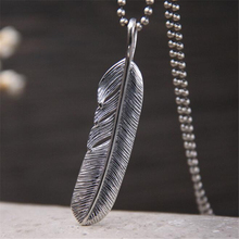 Drop Shipping 925 Sterling Silver Leaf Pendants Feather Necklaces&Pendants Jewelry For Collar Colar de Plata