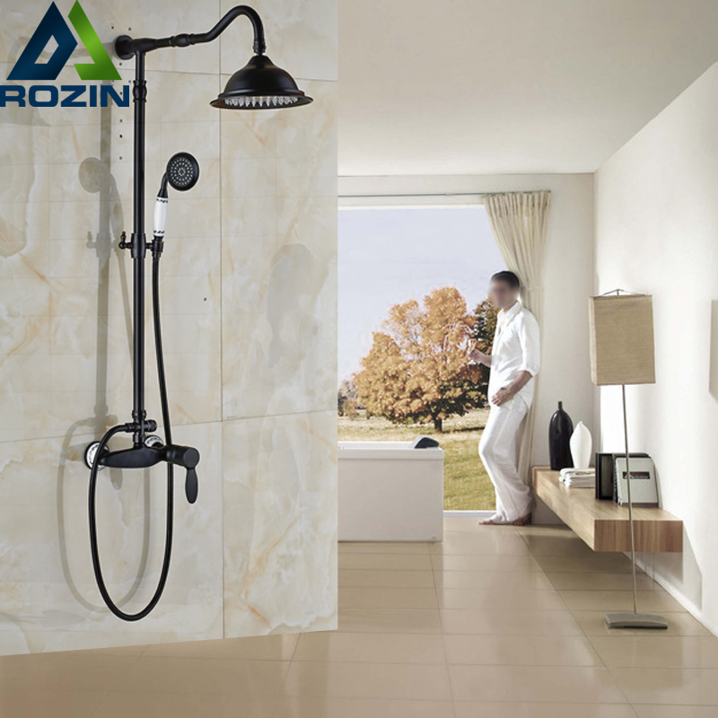 Luxury Oil Rubbed Bronze Shower Faucet Tap Single Handle Wall Mounted Bathroom Shower Mixers with Brass Hand Shower bathroom accessory wall mounted black oil rubbed bronze toothbrush holder with two ceramic cups wba451