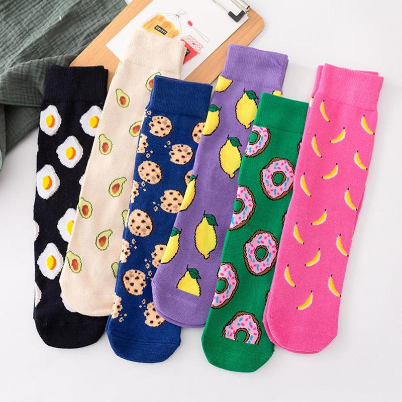 2019 Spring Cartoon Omelette   Socks   Cotton Harajuku Unisex Women Men Personality Donut Cookie Pattern Novelty Funny   Socks