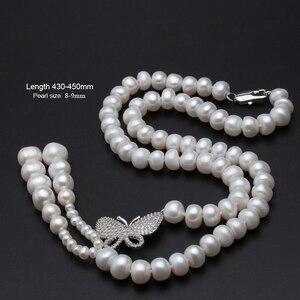 Image 2 - Süßwasser perle perlen halskette 925 silber schmuck, Echt perle festival halskette frauen quaste schmuck schmetterling