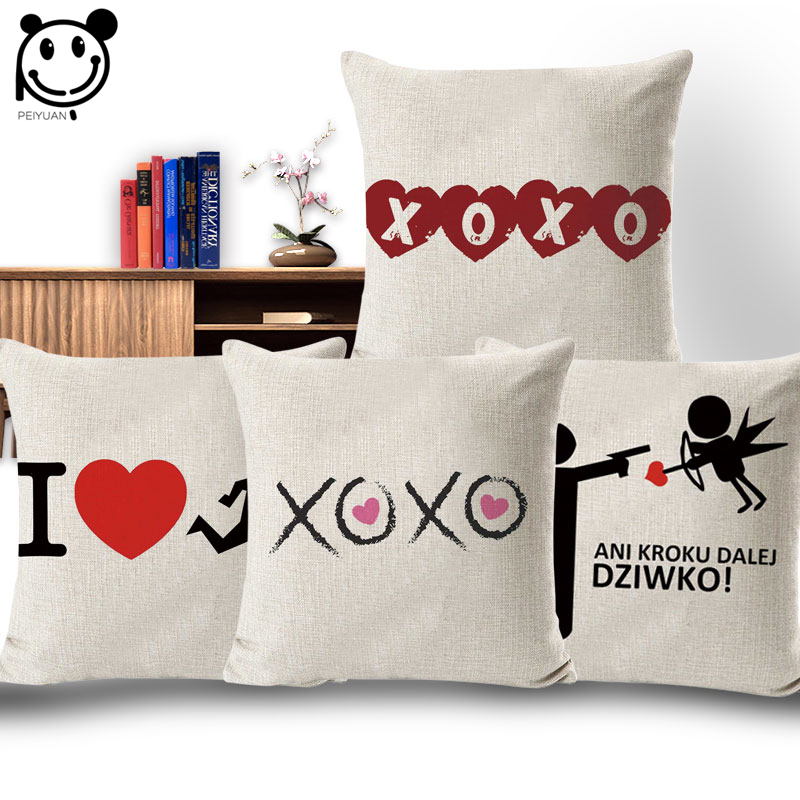 PEIYUAN XOXO Lovers Throw Pillow Cover 18 Inches Sex Cushion Cover I Love Game Cotton Li ...