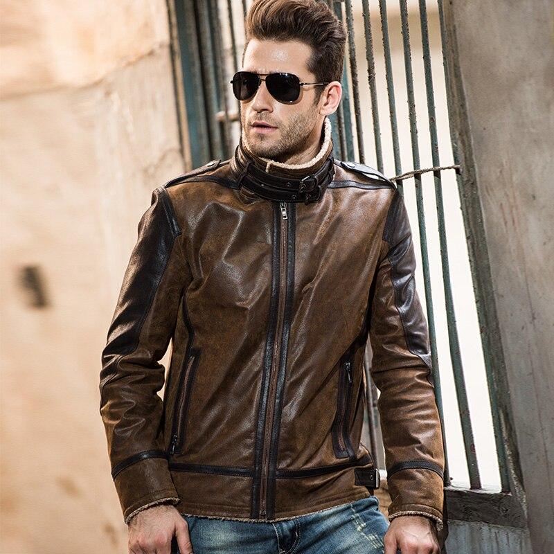 2016 Men's real leather jacket pigskin vintage Genuine Leather jacket men double face fur leather coat motorcycle jacket