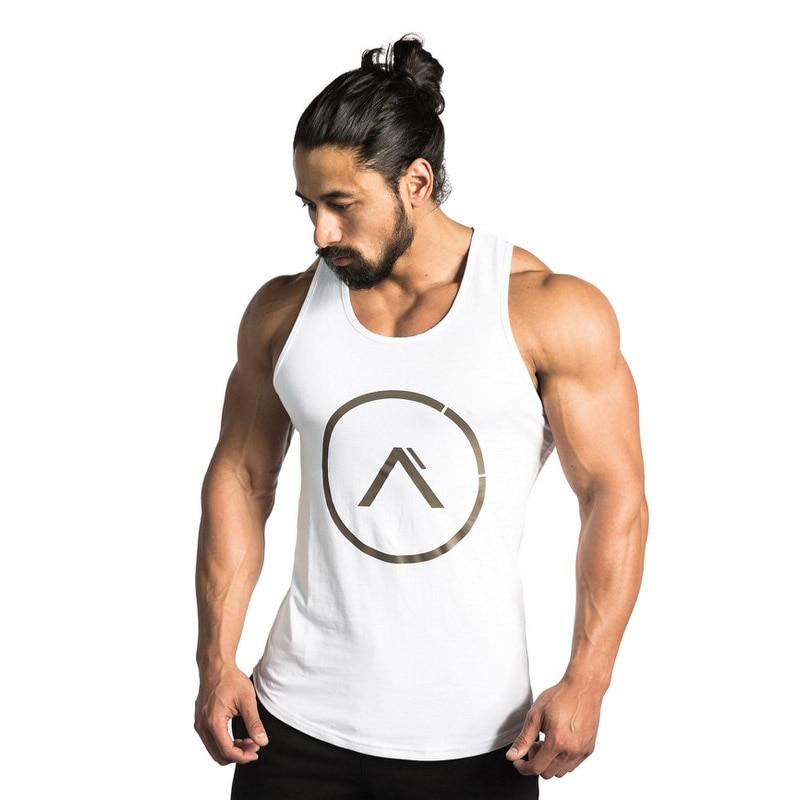 2019 Spring Summer Fitness Bodybuilding Stringers GYMS   Tank     Tops   Clothing Sleeveless Vest Undershirt Fitness Mens Casual Print